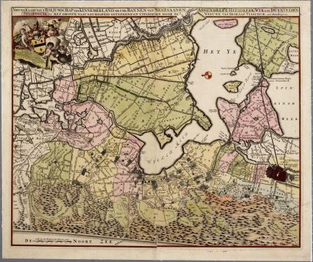 Kaart van het baljuwschap Kennemerland, eind 17e eeuw.