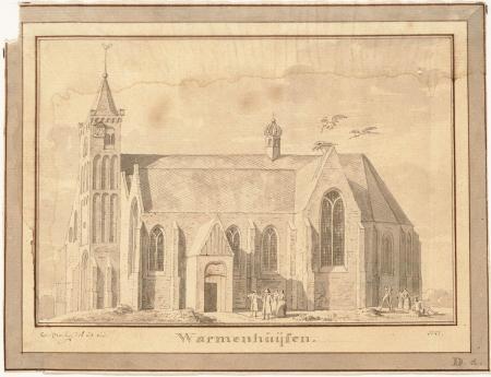 De Oude Ursulakerk in Warmenhuizen in 1727 op een prent van Cornelis Pronk. De Oude Ursulakerk in Warmenhuizen in 1727 op een prent van Cornelis Pronk.