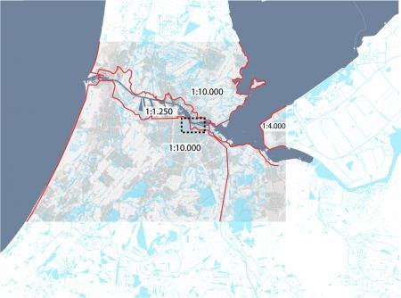 Kaart van Amsterdam en omstreken met de dijk als beschermd element.