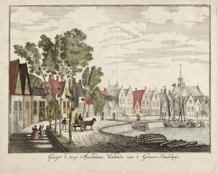 Gezicht op het dorp Spaarndam, komende van het Gemeenlandshuis.