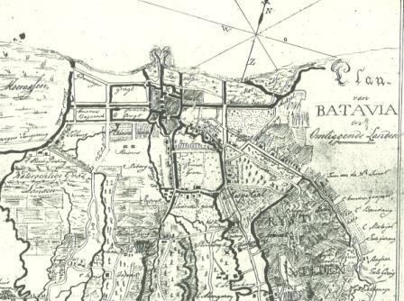 Kaartje van Batavia uit een brief van v.d. Graaff