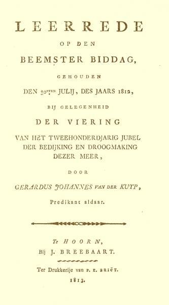 Titelblad van de bij het tweede eeuwfeest van de Beemster door ds. Van der Kuyp uitgesproken rede.