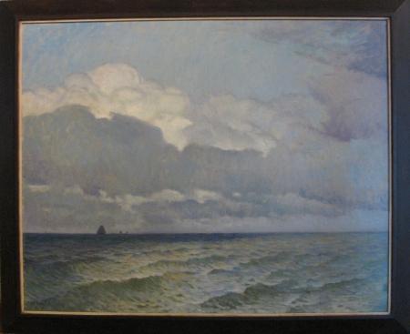 Botters op zee, A.P. Schotel. Dit kleinere schilderij schonk dijkgraaf Wijdenes Spaans aan het hoogheemraadschap.