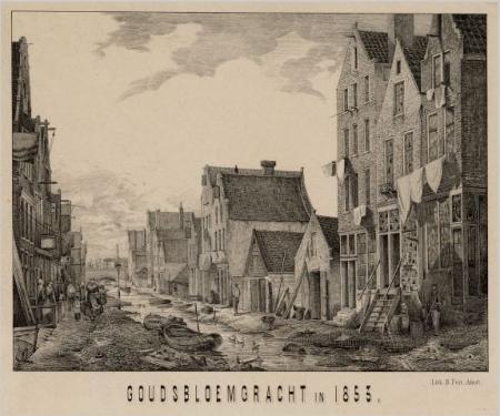De voormalige Goudsbloemgracht, zoals afgedrukt in het Overzicht der Vereeniging ten behoeve der arbeidersklasse (1852-1902).