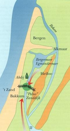 Kaart van de Zanddijk.