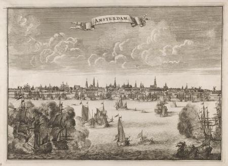 Profiel van Amsterdam in 1638, vanaf het IJ gezien.