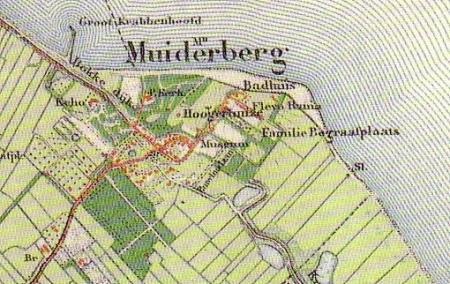 Kaart van Muiderberg rond 1900 met links het Echobos