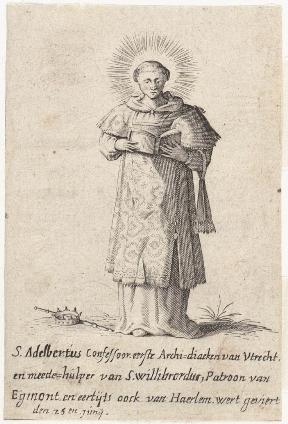 De Heilige Adelbertus, metgezel van de bekende Willibrord en Bonifatius, afgebeeld op een ets uit 1750.