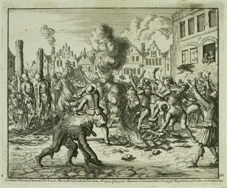 Het verbranden van drie doopsgezinden en hun boeken in Haarlem, 26 april 1557, door Jan Luyken.