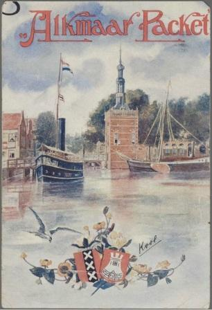 Reclamekaart van de Alkmaar Packet, begin 1900.