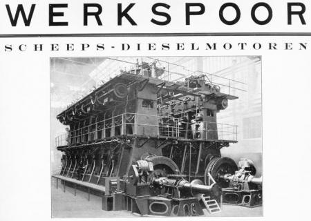 Scheepsdieselmotor geproduceerd door Werkspoor N.V.