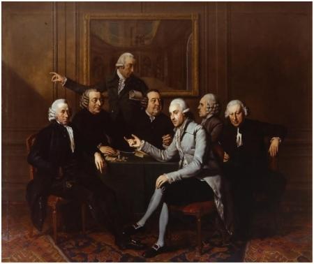 Groepsportret van Directeuren van Teylers Stichting met hun secretaris, door Wybrand Hendriks, 1786.