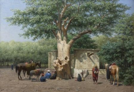 De put en de oude sycomoor op het Ezbekiëhplein te Caïro, door Willem de Famars Testas, 1884.