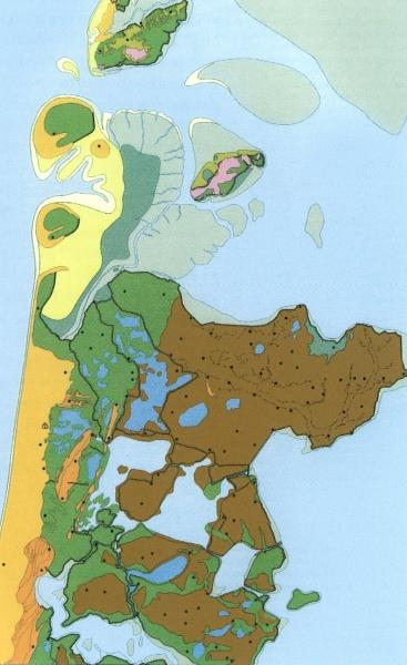 Reconstructie kaart van Noord-Holland in 1350.