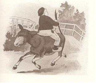 Dik Trom achterstevoren op een ezel