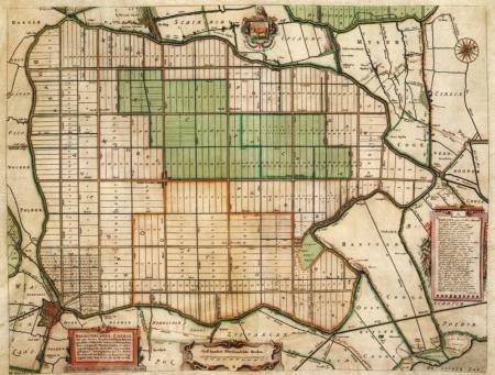 Kaart van de Beemster, ca. 1650 (noorden rechts).