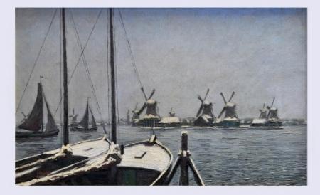 Schilderij 'Zicht op de Hemmes met negen molens', door Frans Mars, 1925.