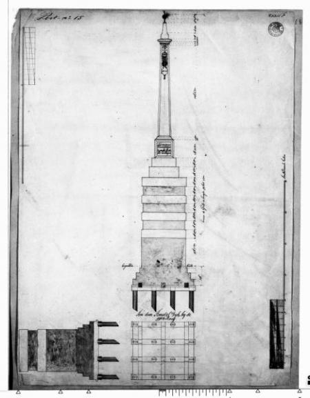 Bouwtekening van de banpaal langs de Amsteldijk, 1623.