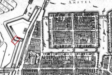 Het onderzoeksgebied op de kaart van Balthasar Florisz. van Berckenrode uit 1625.