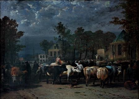 De veemarkt in Hilversum met op de achtergrond het Regthuys, circa 1860, door James de Rijk.