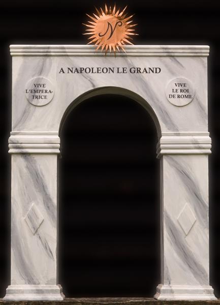 Schets van ereboog opgesteld in Oudeschild tijdens het bezoek van Napoleon op 16 oktober 1811 op Texel.