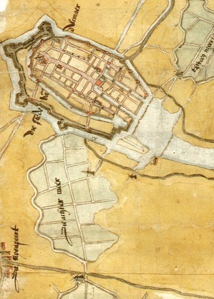 Alkmaar met de Achtermeer, 1573. Detail uit een kaart van Louris Pietersz.