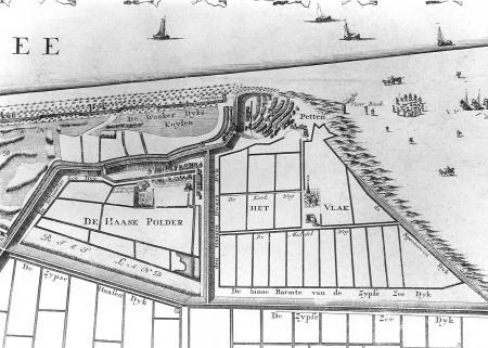 Petten in 1730 (noorden rechts) met het Pettemervlak.