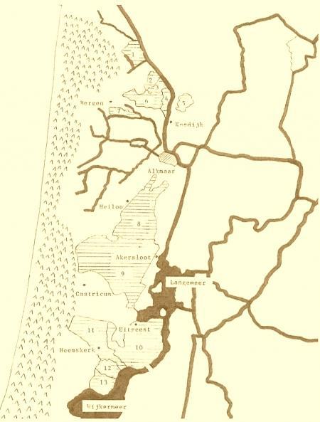Kaartje van de polders langs de duinkant waar in de periode 1600-1850 inundatie op enig moment werd toegepast.