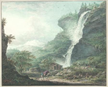 Waterval bij de kleine St. Bernard, door Johann Jacob Koller.