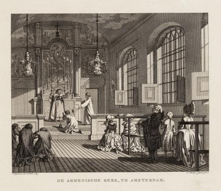 Een dienst in de Armeense Kerk. Prent van C. Philips Jacobsz. en P. Wagenaar, 1783. Collectie STADSARCHIEF AMSTERDAM