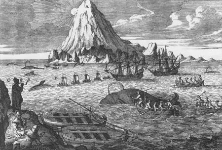 Gravure uit de 18e eeuw met Nederlandse walvisvaarders jagend op Groenlandse walvissen. Op de achtergrond is de vulkaan Beerenberg op Jan Mayen te zien. Het eiland hoort bij Noorwegen.
