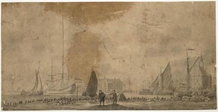Gezicht op de Hoofdtoren en de Admiraliteitsmagazijnen te Hoorn in 1802, door Pieter Aartsz. Blauw (1744-1808).