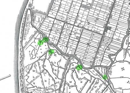 De locatie van de vijf platgebrande poldermolens ingetekend op een 17e-eeuwse kaart.