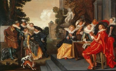 Musicerend gezelschap op terras - Dirck Hals