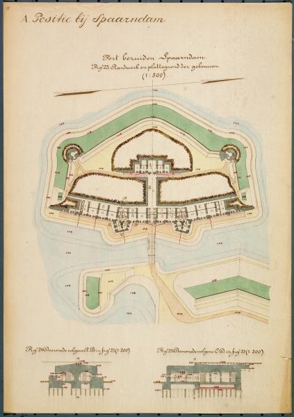 Bouwtekening van Fort bezuiden Spaarndam.