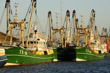 Vissersloot Texel in de thuishaven Oudeschild