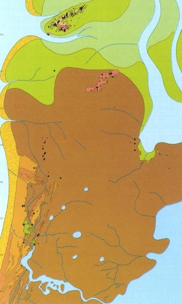 Reconstructie kaart van Noord-Holland in 800. Bruin is veen.