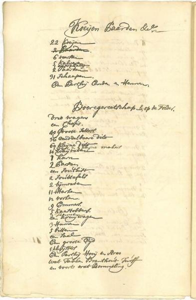 Staat van Inventaris van stolpboerderij 'Het Rookhol' in 1758.