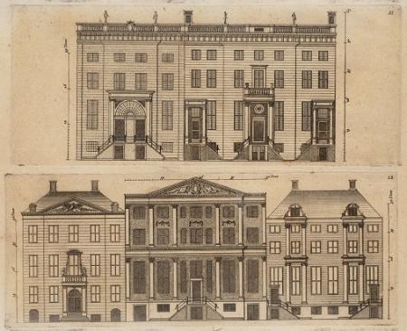 Gevels van grachtenhuizen aan de Herengracht en Keizersgracht.