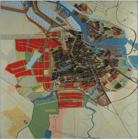 Maquette van Amsterdam met Algemeen Uitbreidingsplan, 1925 - 1945.