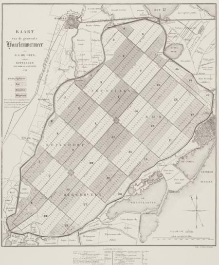 Kaart van het plan voor de drooglegging van de Haarlemmermeer uit 1885.