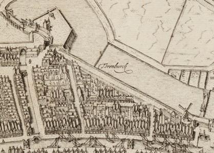 De na het Beleg nieuw aangelegde fortificatie aan de noordzijde van de stad op een kaart eind zestiende eeuw.