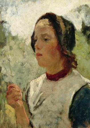 Albert Neuhuys: 'Meisje met bloem'.