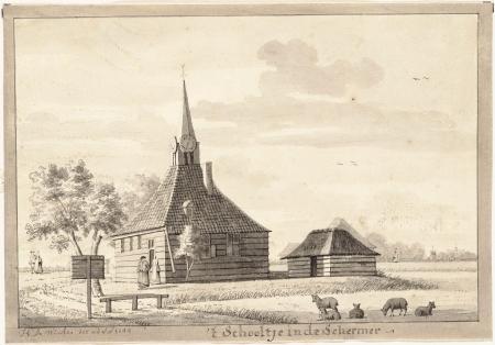 Zwarte Kerkje, Zuidschermer. Tekening door H. de Winter, 1744.