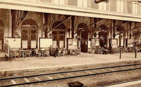 Eerste perron Station Hilversum, circa 1920.