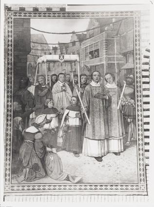 Muurschildering van de Heilig Bloed-processie in de Langestraat, boven het ingangsportaal van de Sint-Laurentiuskerk.