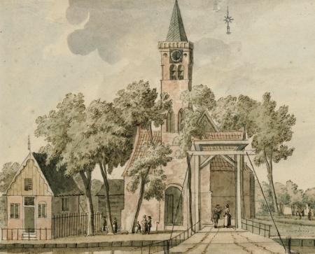 Regionaal Archief Alkmaar.Tekening, anoniem, 1750.De bekroning van de kerktoren paste niet meer op het papier en is er daarom naast getekend