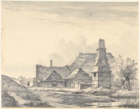 De banpaal in 1839, door H.G. ten Cate.