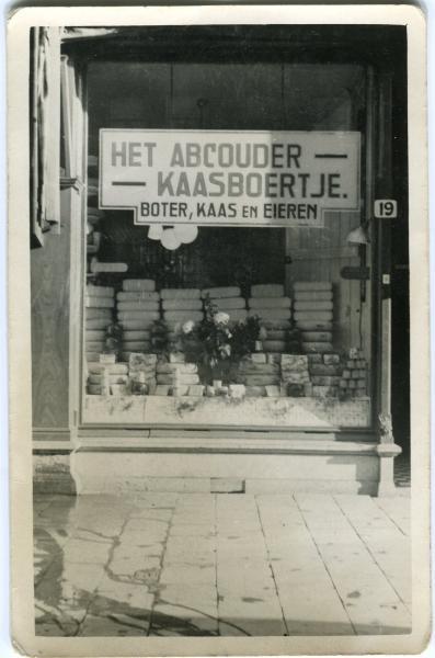 Foto van de allereerste vestiging van buurtwinkel en familiebedrijf Het Abcouder Kaasboertje.