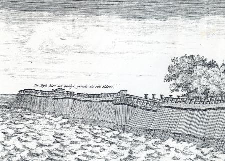 De houten zeedijk tussen Muiden en Muiderberg, rond 1550